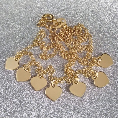 Gold-plated silver chain with hearts 42 cm SLPC19M