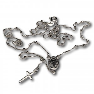 Silver rosary chain with ankle weave and clasp SRL04