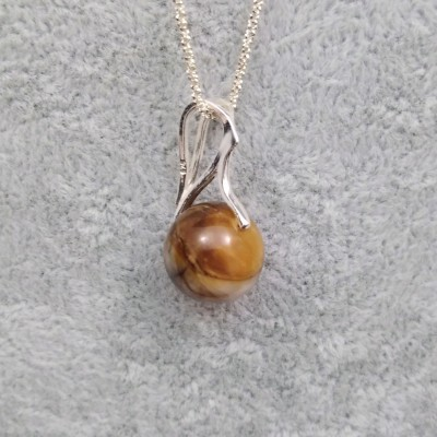 Silver pendant with tiger eye stone 12 mm KW18