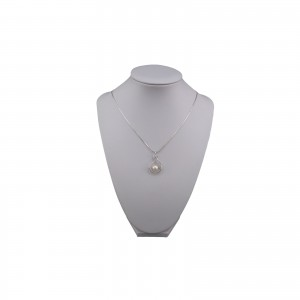 Silver pendant with white pearl 7.5 - 8 mm and cubic zirconia PGW13