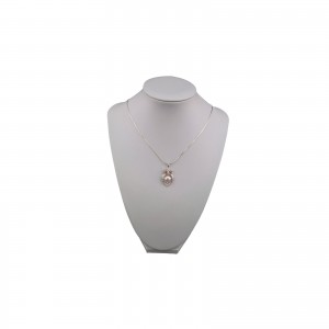 Silver pendant with a pink pearl and zirconias in the shape of a small owl PGW05-B