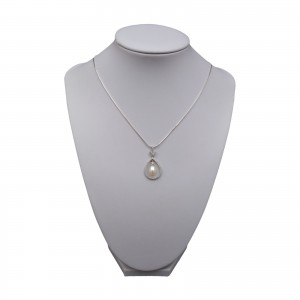 Decorative pendant with a pearl white tear and cubic zirconia PGW10