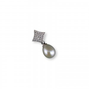 Pendant with a real white pearl 7 - 9 mm and decorative edge with cubic zirconia PGW14-B