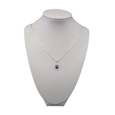 Pendant with real pearl purple tear 7-10 mm PW16-B