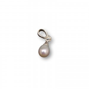 Pendant with real pearl white small tear 5 - 8 mm PW26