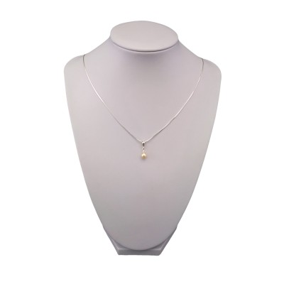 Pendant with real pearl pink small tear 5 - 9 mm PW27