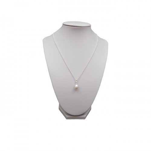 Silver pendant with a white pearl tear 10-12 mm PW36-A