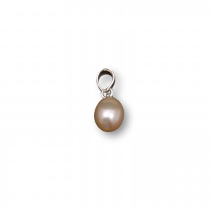 Silver pendant with a pearl pink tear 8.5 - 11 mm PW37